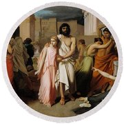 Oedipus And Antigone Or The Plague Of Thebes  Round Beach Towel