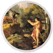 Oedipus And The Sphinx Round Beach Towel