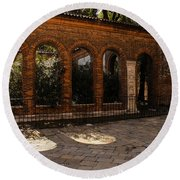 Of Courtyards And Elegant Arches  Round Beach Towel