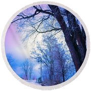 Of Dreams And Winter Round Beach Towel