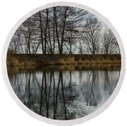 Of Mirrors And Trees Round Beach Towel