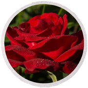Of Red Roses And Diamonds  Round Beach Towel