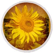 Of Sunflowers Past Round Beach Towel