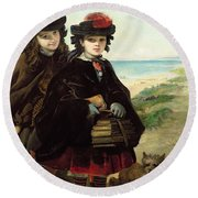 Off To School, 1860 Round Beach Towel