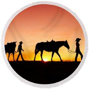Off To The Barn Round Beach Towel