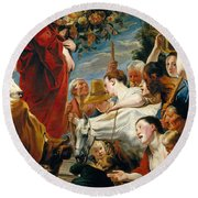 Offering To Ceres Goddess Of Harvest Round Beach Towel