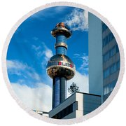 Office Building And Waste-to-energy Plant Vienna Round Beach Towel by Stephan Pietzko