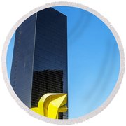 Office Building Round Beach Towel