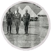 Officers At Camp Newayo, New York State Round Beach Towel