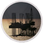 Offshore Drill Rig Platform Round Beach Towel