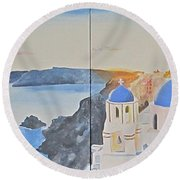 Oh Island In The Sun... Round Beach Towel