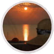 Oh The Hat Round Beach Towel