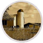 Ohio Farm In Sepia Round Beach Towel by Frozen in Time Fine Art Photography