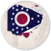 Ohio Map Art With Flag Design Round Beach Towel