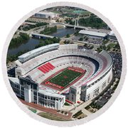 Ohio Stadium Aerial Round Beach Towel