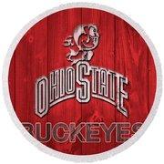 Ohio State Buckeyes Barn Door Round Beach Towel