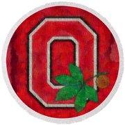 Ohio State Buckeyes On Canvas Round Beach Towel