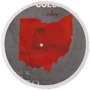 Ohio State University Buckeyes Columbus Ohio College Town State Map Poster Series No 005 Round Beach Towel