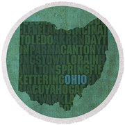 Ohio State Word Art On Canvas Round Beach Towel
