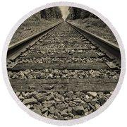 Ohio Train Tracks Round Beach Towel