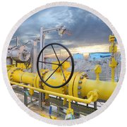 Oil And Gas Round Beach Towel