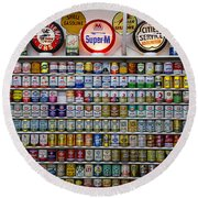 Oil Cans And Gas Signs Round Beach Towel by Garry Gay