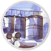 Oil Depot In April Round Beach Towel by Kip DeVore