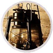 Oil Lantern Round Beach Towel
