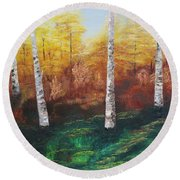 Oil Msc 005  Round Beach Towel