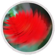Oil Painting - A Spinning Effect To A Flower Round Beach Towel