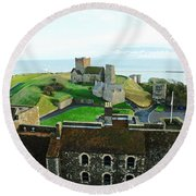 Oil Painting - Aerial View Of Dover Castle Round Beach Towel