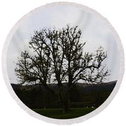 Oil Painting - An Old Tree In The Middle Of A Garden And Playground Round Beach Towel