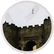 Oil Painting - British Flag Over A Doorway Inside The Stirling Castle Round Beach Towel