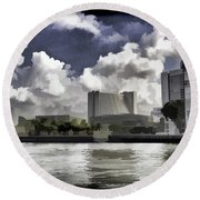 Oil Painting - Buildings Along The Waterfront In Singapore Round Beach Towel