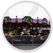 Oil Painting - Children And Adults At The Merry Go Round Inside The Blair Drumm Round Beach Towel