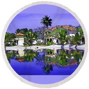 Oil Painting - Cottages And Lagoon Water Round Beach Towel