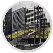 Oil Painting - Floating Platform And Construction Site In The Marina Bay Area Round Beach Towel