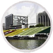 Oil Painting - Floating Platform In The Marina Bay Area In Singapore Round Beach Towel
