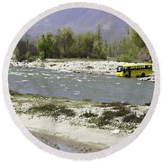 Oil Painting - Front Part Of School Bus In A Mountain Stream On The Outskirts Of Srinagar Round Beach Towel