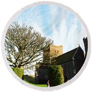 Oil Painting - Lighthouse And Church Inside Dover Castle Round Beach Towel