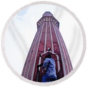Oil Painting - Minaret Inside Jama Masjid Round Beach Towel