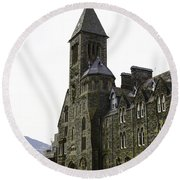 Oil Painting - Repair Of The Benedictine Abbey At Fort Augustus Now Apartments Round Beach Towel