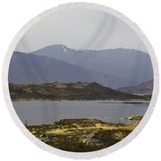 Oil Painting - Rugged Shoreline And Waters Of A Loch In The Scottish Highlands Round Beach Towel