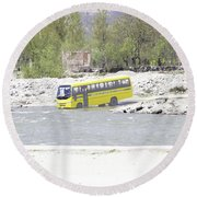 Oil Painting - School Bus In A Mountain Stream On The Outskirts Of Srinagar Round Beach Towel