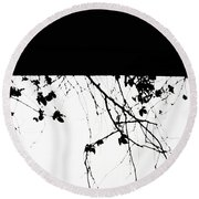 Oil Painting - Small Plant Branches Falling Over A Ledge - Horizontal Round Beach Towel