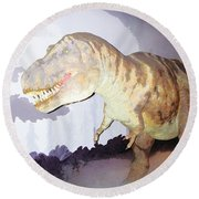 Oil Painting - Thankfully This T Rex Is A Dummy Round Beach Towel