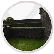 Oil Painting - The Depth Of The Moat Now Covered With Grass At Stirling Castle Round Beach Towel