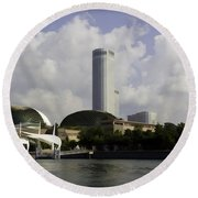 Oil Painting - The Swissotel Is A Tall Hotel In Singapore Next To The Esplanade Round Beach Towel