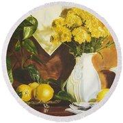 oil painting print of art for sale Golden Lemons  Round Beach Towel