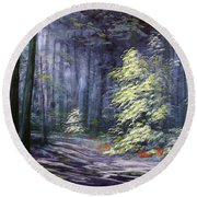 Oil Painting - Forest Light Round Beach Towel